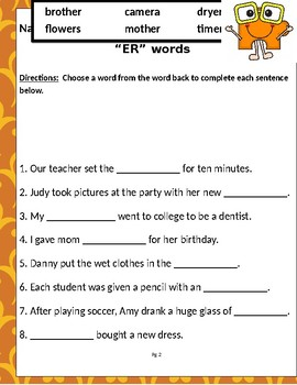 """Words that contain """"ER"""" (Based on Orton Gillingham.) 3 pages of practice."""