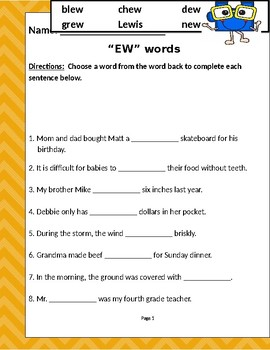 """Words that contain """"EW"""""""