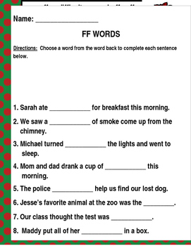 """Words that contain """"FF"""" (Based on Orton Gillingham.) 3 pages of practice."""