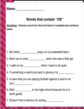 "Words that contain ""OE"" (Based on Orton Gillingham.) 3 pages of practice."
