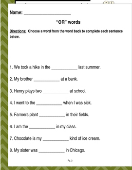 """Words that contain """"OR"""" (Based on Orton Gillingham.) 3 pages of practice."""