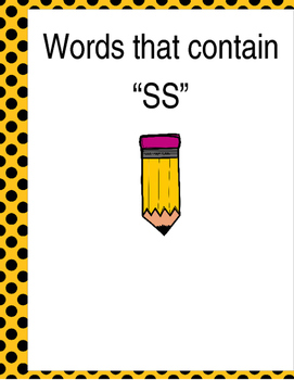 """Words that contain """"SS"""" (Based on Orton Gillingham.) 3 pages of practice."""