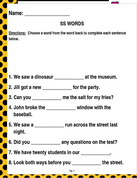 "Words that contain ""SS"" (Based on Orton Gillingham.) 3 pages of practice."