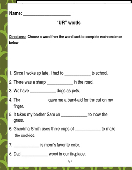 """Words that contain """"UR"""" (Based on Orton Gillingham.) 3 pages of practice."""