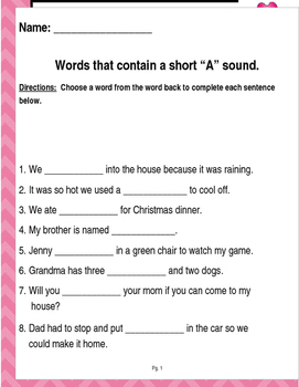 "Words that contain a short ""A"" sound (Based on Orton Gillingham.) 3 pages."