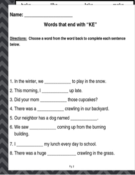 """Words that end in """"KE"""" (Based on Orton Gillingham.) 3 pages of practice."""