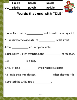 """Words that end wit """"DLE"""" (Based on Orton Gillingham.) 2 pages of practice."""
