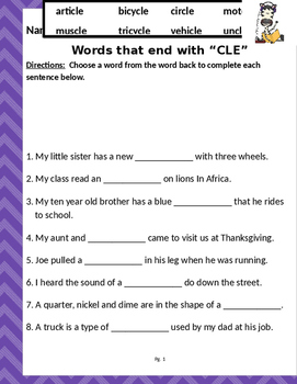 """Words that end with """"CLE"""" (Based on Orton Gillingham.) 2 pages of practice."""