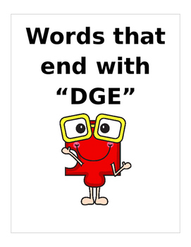 """Words that end with """"DGE"""". (Orton Gillingham) 2 pages"""
