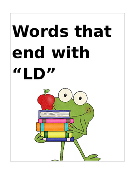 """Words that end with """"LD"""" (Based on Orton Gillingham.) 2 pa"""