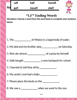"""Words that end with """"LF"""" (Based on Orton Gillingham.) 2 pages of practice."""