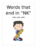 "Words that end with ""NK"" (ink, ank, onk) Based on Orton Gillingham"