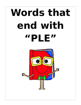 "Words that end with ""PLE"" (Based on Orton Gillingham.) 2 p"