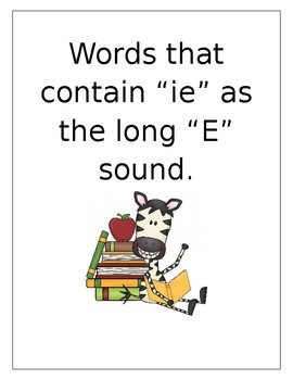 Words that have ie as a E sound - 3 pages of activities