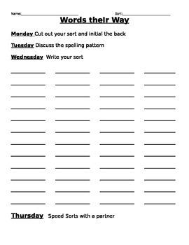 Words their Way 2 Week Packet
