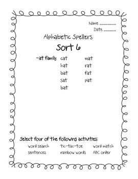Words their Way Alphabetic Spellers Sorts 6 - 12