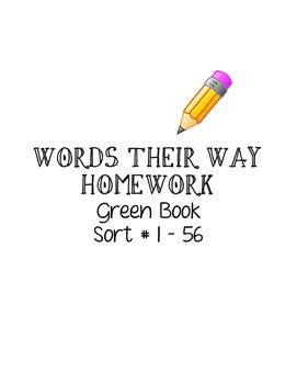 Words their Way - Green Book Homework Sheets