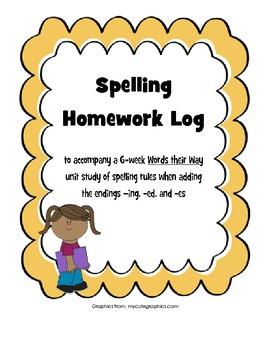 Words their Way Inflected Endings Spelling Homework Log