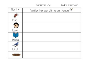 Words their Way Letter-Name Write in a Sentence