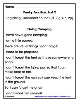 Words their Way Poems ~ Alphabetic Spellers Beginning Consonants