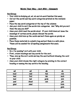 Words their Way - Red Book Homework Sheets