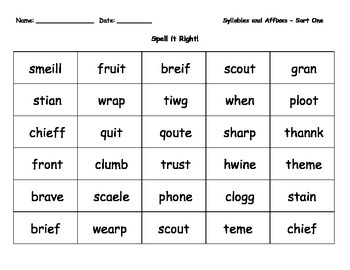 Spelling Activity - Misspelled Words - Syllables and Affixes (Unit I)