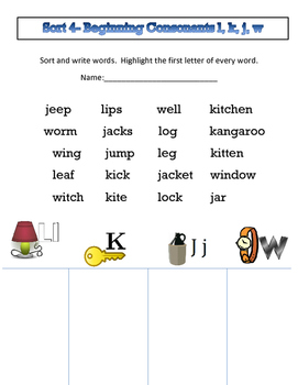 Words their Way (WTW) alphabetic spellers Sorts 1-5 with assessment