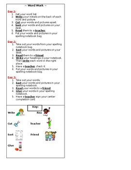 Words their Way/Word Work Directions for Student Notebooks