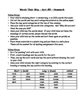 Words their Way - Yellow Book Homework Sheets