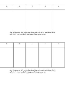 Words their way spelling homework- short vowels endings-ss,th,sh,ch