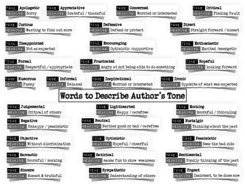 Words to Describe Author's Tone