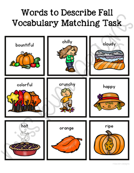 Words to Describe Fall Vocabulary Folder Game for Special Education
