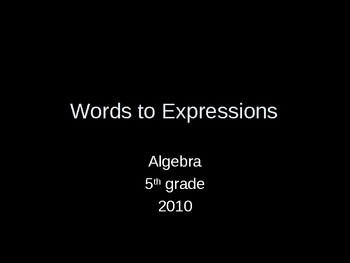Words to Expressions Food Math