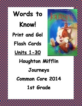 Words to Know Flash Cards Journeys