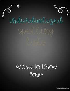 Words to Know List