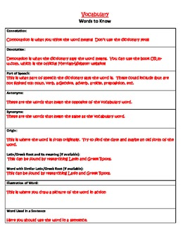 Words to Know- SAT/ACT Vocabulary Word Study System