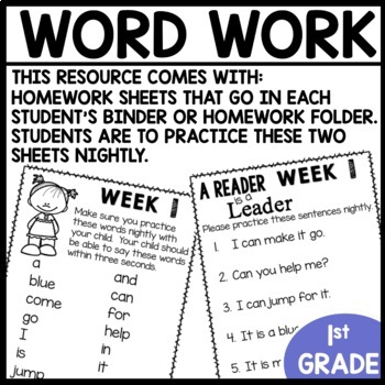 Word Work | UNIT 1 Week 1 | ELA Worksheets | Center Games and Activities