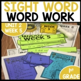 Word Work | UNIT 2 Week 5 | ELA Worksheets | Center Games