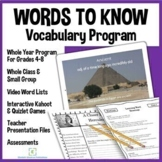 Words to Know Vocabulary Program for grades 4-8