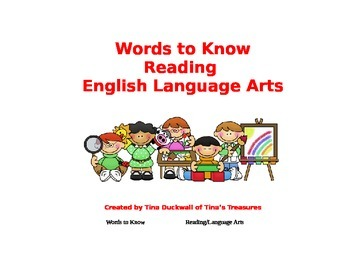 Words to Know in Reading Language Arts