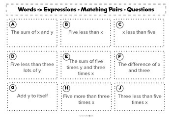 Words to expressions - matching activity - algebra - math