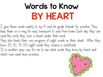 Words to know by heart - Fry Sight Word take home flip books 1st 100