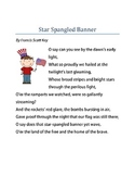 Words to the Star Spangled Banner with Ethnic Grahphics