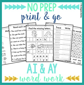 NO PREP AI AY Phonics Worksheets Word Work