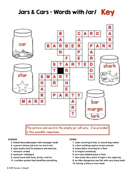 Words with AR Crossword Puzzle - Common Core Grade 3 - Phonics for Big Kids