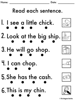 NO PREP Phonics Worksheets Digraphs CH & SH Word Work