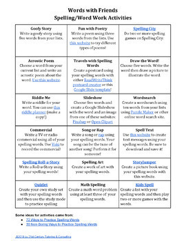 Words with Friends Edu Vocabulary Activities for Google Drive