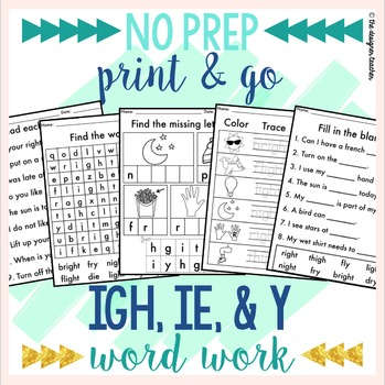 NO PREP Print & Go IGH, IE, & Y Word Work