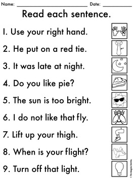 NO PREP Phonics Worksheets IGH, IE, & Y Word Work