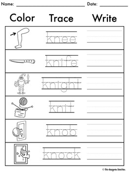 NO PREP Print & Go Silent Letters KN & GN Word Work